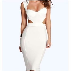 White boohoo Sexy midi dress with cut outs